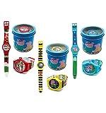 Kinderuhr Peppa Wutz + Aufbewahrungsdose / Uhrenbox - Uhr Kinder Armbanduhr - für