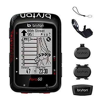 """Bryton AERO 60T GPS Bike Computer (Black, 2.3"""" Display, 60T - with Heart Rate Monitor + Speed +Cadence + Metal Aero Mount).with pre-Load OSM map, Follow Track .Support Power Meter, ESS."""