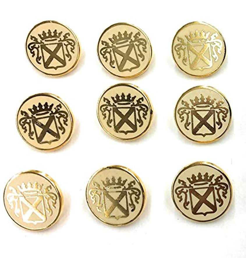 Crown Cross Crest Buttons Sets ~ Gold/white 9pc.(1)