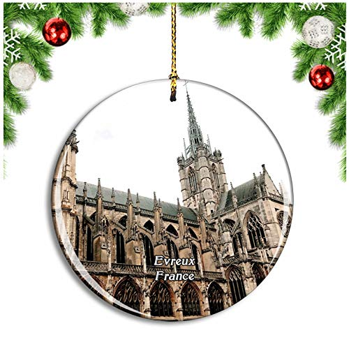 Weekino Evreux France Cathedrale Notre Dame Christmas Ornament Xmas Tree Decoration Hanging Pendant Travel Souvenir Collection Double Sided Porcelain 2.85 Inch