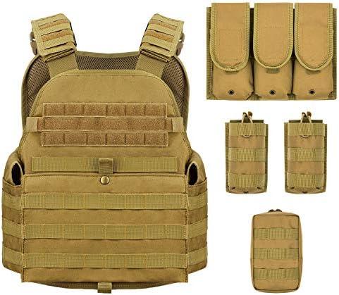Barbarians MOLLE Tactical Vest Outdoor Combat Training Vest Adjustable Lightweight Tan product image