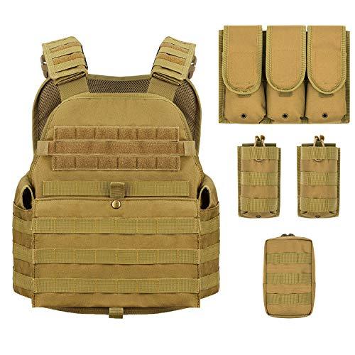 Barbarians MOLLE Tactical Vest, Outdoor Combat Training Vest Adjustable & Lightweight Tan