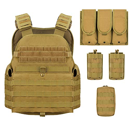 Barbarians MOLLE Tactical Vest, Outdoor Combat Training Vest Adjustable & Lightweight Tan