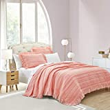 SHALALA NEW YORK Solid Stripe Quilt Set - Ultra-Soft Coverlet and Matching Sham - Elegant Clip Fabric with Channel Quilting Ruffle Edges (Orange Pink, King)