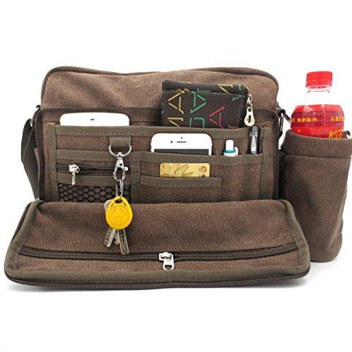 Womens Messenger Crossbody Bag Multifunction Versatile Canvas Mens Womens Handbag Travel Shoulder Bag with Small Water Bag Coffee