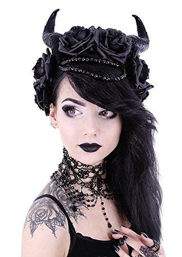Gothic Kopfschmuck - Satanisches Horn mit schwarzen Rosen Haarschmuck diabolisch