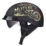 GAOZH Adulto Harley Casco Moto,Aperto retrò Scodella,ECE Omologato con Visiera,para Portatile Scooter Crash Racing Jet Casco