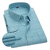 FGSJEJ Hombres Manga Larga Camisas Camisas Casual para Franela Algodón Ajuste Regular a Cuadros con Pantalones Vaqueros o Pantalones Chinos Caqui para el Trabajo,el Juego o una Cita,etc.