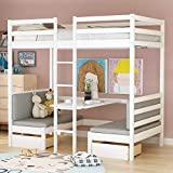 Merax Twin Loft Bed with Desk, Futon Bunk Bed with Desk and Storage Drawers, Convertible Twin Over Twin Loft Bunk Beds for Girls and Boys, Space Saving, Wood, White