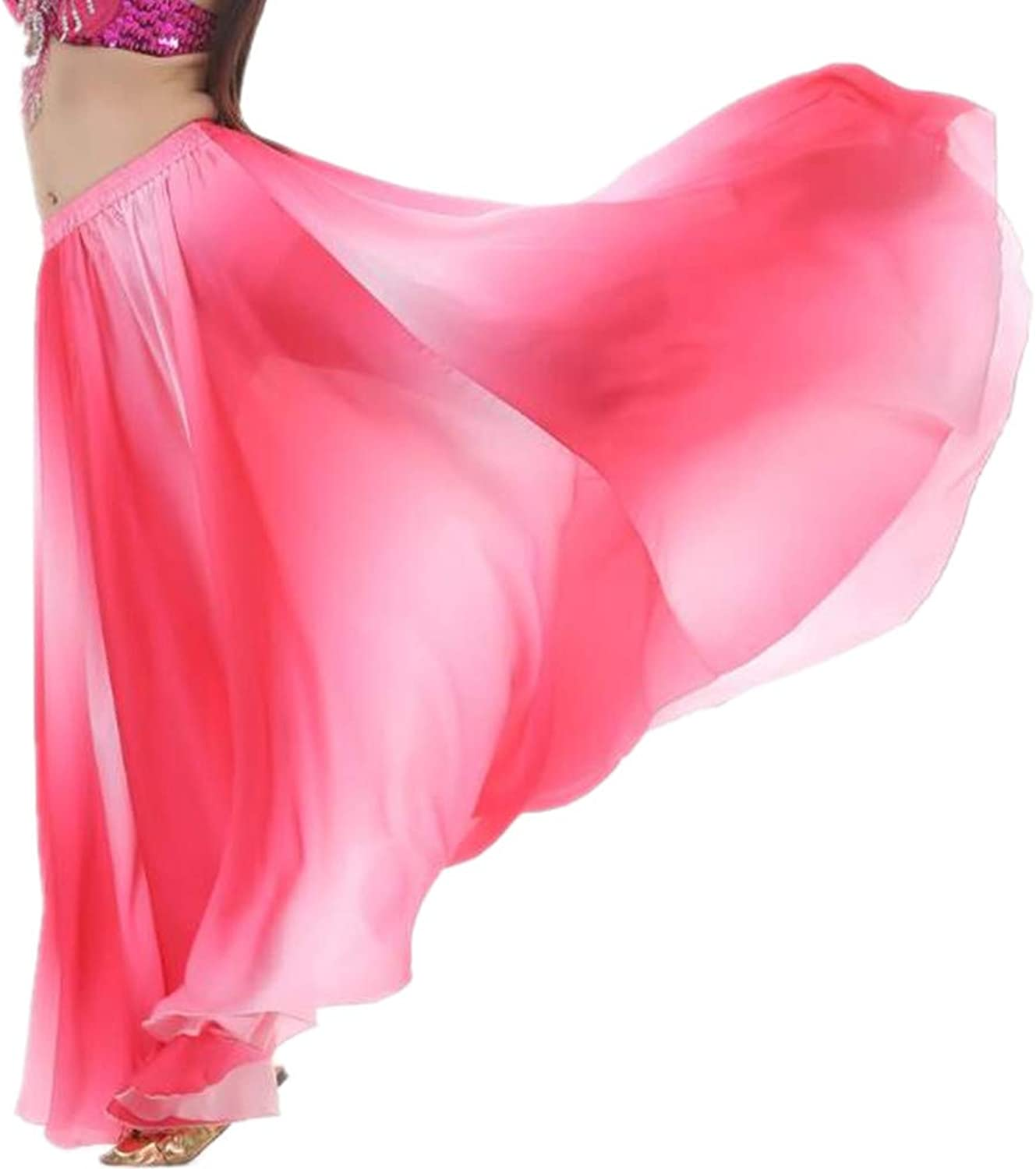 DEMON BABY Charming Boho Style SilkLike Belly Dance Long Skirt Maxi with Nice Gradient color Gift Best