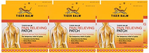 """Tiger Balm Patch, Pain Relieving Patch, 4""""x2.75"""", 5-Count Packages (Pack of 6)"""