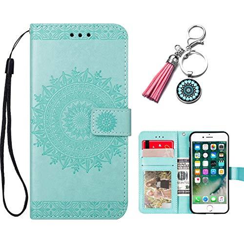 Anicase Lederhülle kompatibel mit Samsung Galaxy J4 2018 Hülle Mandala Blume Muster Grün Handyhülle Flip Hülle Cover Schutzhülle mit Kartenfach für Mädchen Damen