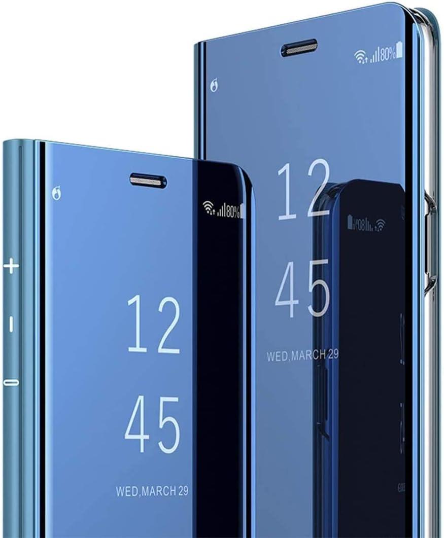 HongMan Funda Compatible con Xiaomi Mi A2 Lite Carcasa, Espejo Mirror Flip Caso Clear View Standing Case Mirror PC + PU Cover 360° Protectora Bumper Cubierta, Azul