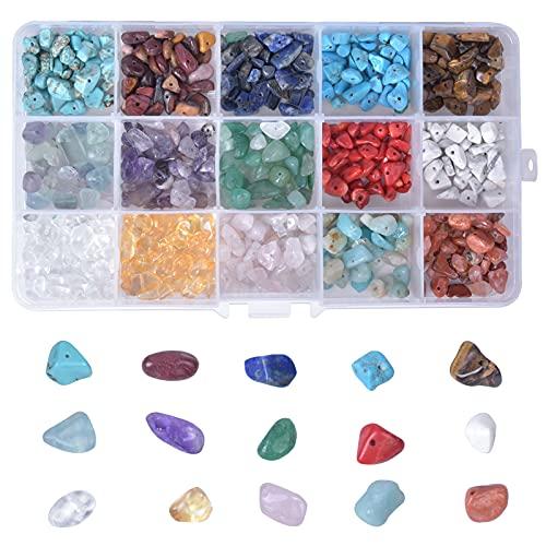 900pcs Cuentas de Piedra para Hacer Joyas, 5-8mm Irregulares Piedras Colores, Cuentas de Piedras Preciosas con Caja para Anillos Bricolaje, Collar, Pulsera, Pendiente, Fabricación de Joyas