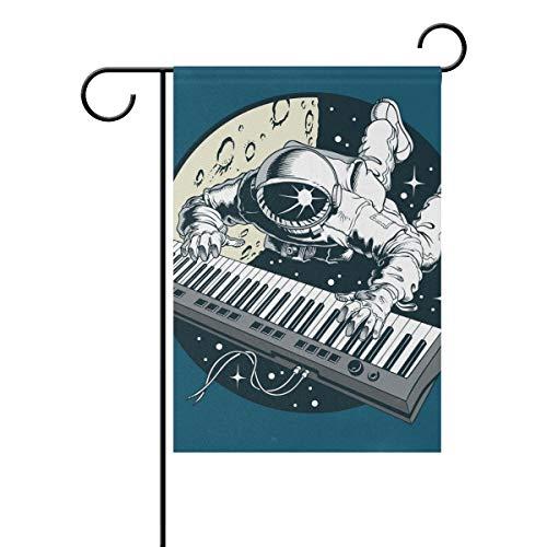 Jessgirl Gartenfahne Astronaut Klavier Spielen 28x40 Zoll doppelseitige Bauernhaus Flaggen Welcome Yard Outdoor Decor
