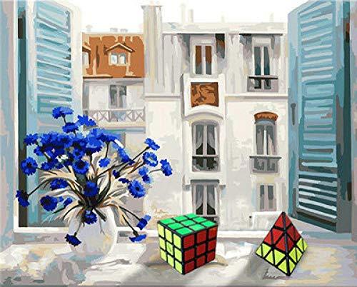Pintura al óleo Art DIY pintura por números, adultos y niños, manualidades, como decoración para el hogar WM-1980-Windowsill Rubik's Cube