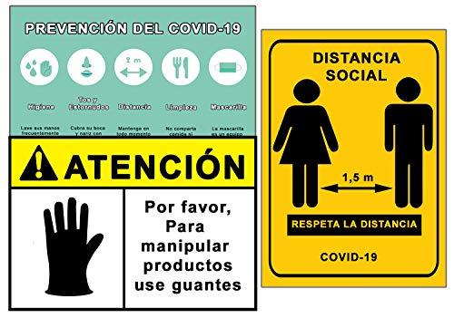 Señalización Coronavirus COVID19 | Señales Uso Guantes + Distancia Social + Pautas | Carteles para Empresas, Comercios, Oficinas | Autoinstalable y Resistente a la Intemperie | 21 x 30 cm