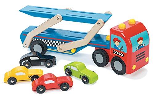 Le Toy Van – Jouet en Bois Camion Transporteur de Voitures| 1 Camion et 4 Véhicules de Course, Vert, Jaune, Rouge et Noir | 36 Autocollants Inclus | Cadeau pour Garçon ou Fille 3 Ans et Plus
