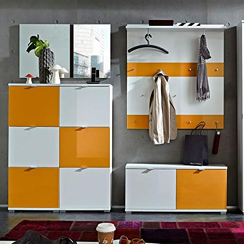 Garderoben-Kombi - Hochglanz weiß - orange - 2X Schuhschränke - Schuhbank - Garderobenpaneel