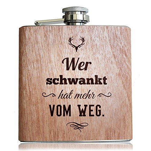 Holz Flachmann mit lustigem Spruch Wer schwankt hat mehr vom Weg! Geschenk zum Wandern und Bergsteigen