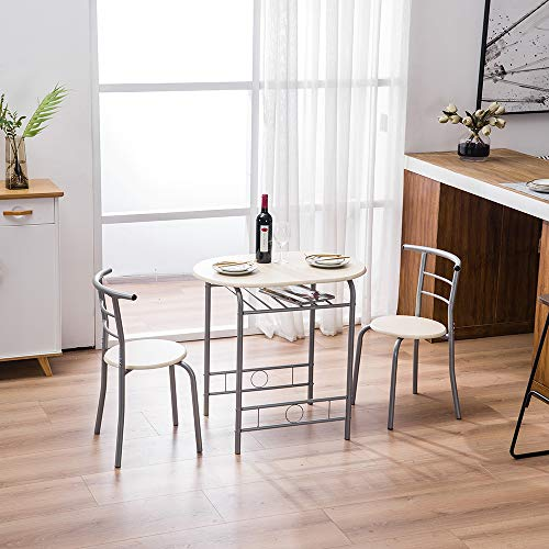EBLSE 3 Piece Dining Table Set, Compact Breakfast Round Table and Chair Set. Best Space Saving Table Set for Bistro Pub Kitchen - Metal Frame Storage Shelf (Black)