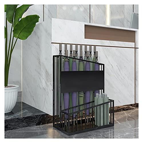 Portaombrelli Supporto per ombrelli in Metallo, cestello per ombrelloni Commerciali per Uso Domestico Che può Contenere 12-27 ombrelloni, con Fori di drenaggio (Color : Black, Size : 48x27x60cm)