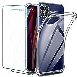 Leathlux Cover per iPhone 12 Max/iPhone 12 PRO Trasparente + 2 × Pellicola Vetro Temperato, Custodia iPhone 12 Max Silicone Morbido Protettivo TPU Gel [Antiurto Bumper] Cover per iPhone 12 PRO 6.1'