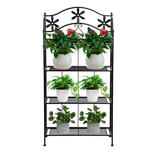 Zerone Standregal aus Eisen,Multifunktions dreistufige Metallregal Blume Pflanze Stand Bücherregal Blumenlegal Leiter Lagerregal