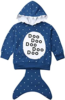 Kids Little Baby Boys Girls Pullover Shark Hoodie Sweatshirt Costume with Tail and Fins