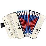 Eastar Button Accordion 10 Key Kids Accordion Toy Piano Accordion Instrument for Children,White