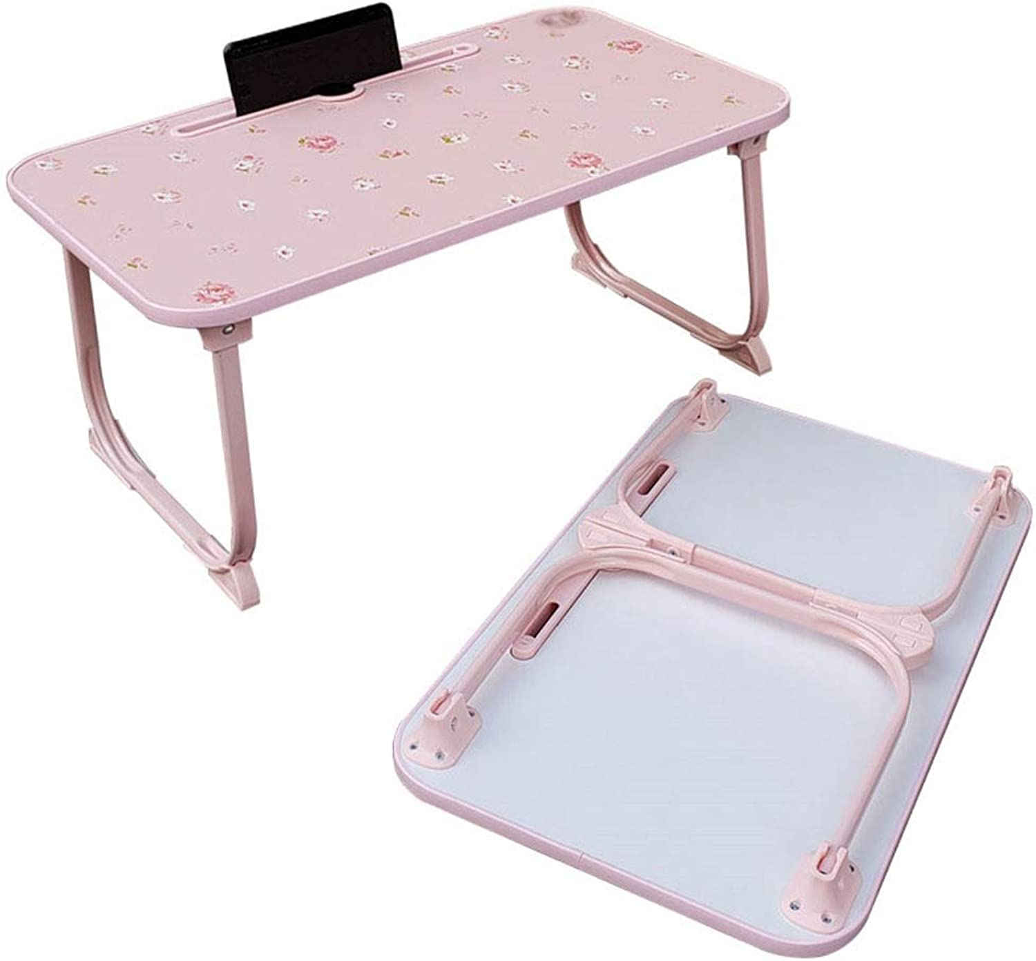 Learn Read Small Table Lazy Bed Breakfast Table Foldable Laptop Table Write Writing L58×W34×H26.5cm GW (color   Pink Floral)