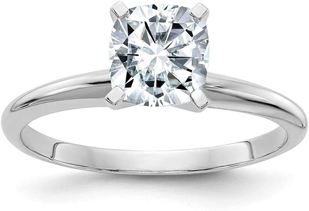 14k White Gold 1 3/4ct. D E F Pure Cushion Moissanite Solitaire Band Ring Engagement Gsh Gshx Fine Jewelry For Women Gifts For Her