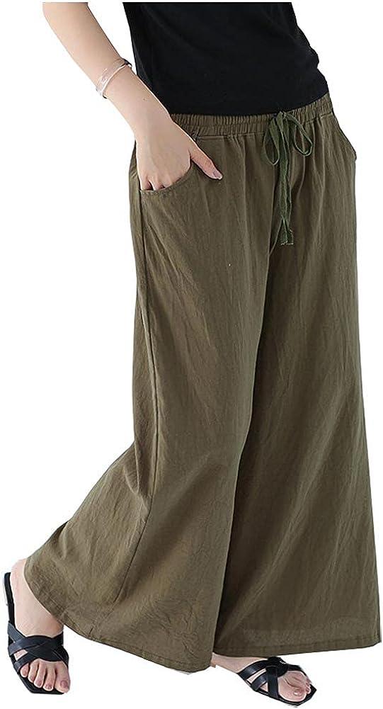 SCOFEEL Women's Cotton Linen Wide Leg Pants Elastic Waist Drawstring Summer Casual Loose Trousers Pants