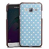 DeinDesign Cover kompatibel mit Samsung Galaxy J3 Duos 2016 Lederhülle braun Leder Hülle Leder Handyhülle Punkte Muster Blau Weiß Polka