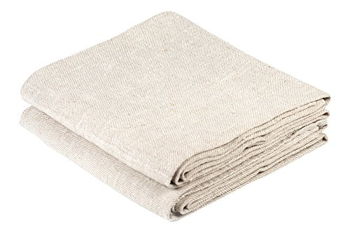 BLESS LINEN Natural Huckaback Pure Linen Hand Kitchen Towel, 16 x 30 Inches, Set of 2