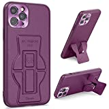 Tuerdan iPhone 11 Pro Case with Kickstand, [Leather Case] Vertical and Horizontal Foldable Kickstand [Support Magnetic Car Mount] Protective Stand Cover for iPhone 11 Pro 5.8, Purple