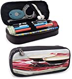 KLKLK Estuche Coffee Soft Pencil Bag Freshly Brewed Espresso Two Cups on Wooden Tray Leisure Relaxing Time in Countryside Beautiful Pattern Multicolor