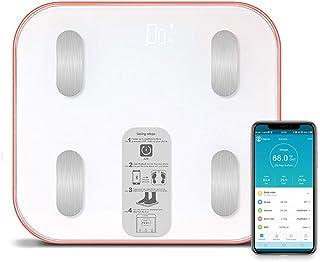 XHXMM Báscula de Baño con App Bluetooth Android/iOS, Báscula de Baño Báscula de Pesaje de Alta Precisión con Aplicación de Teléfono Inteligente,18 Datos Corporales Multiusuario Compatibles,Naranja