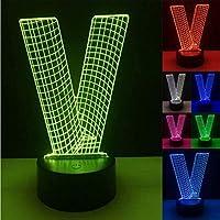 ナイトライトノベルティ3DアルファベットレターVランプ7色調光グラデーションLedナイトライトデスクテーブルチャイルドベイビーナイトベッドスリーピングギフト