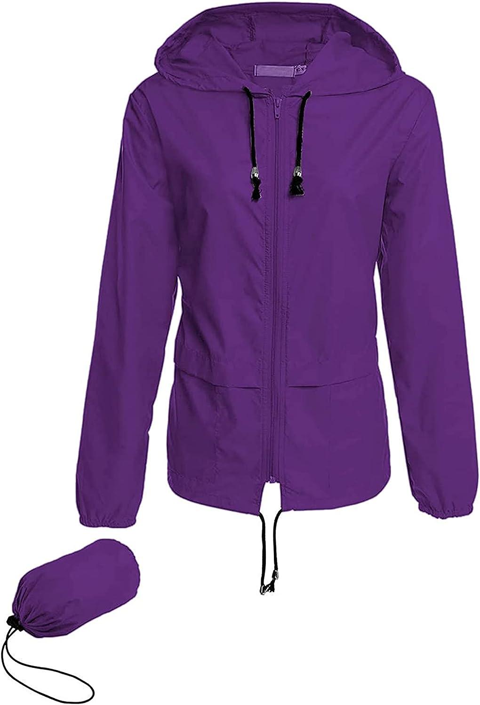 Women Long Sleeve Solid Thin Skinsuits Hooded Zipper Casual Sport Coat Raincoat