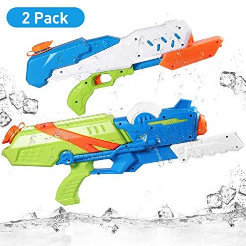 iBaseToy Wasserpistole, 2-Pack 10M Reichweite Wasserspritzpistole für Kinder und Erwachsene - 570ml / 1L - Wasserspielzeug Water Gun Blaster für Sommer Outdoor Party Pool Garten und Strand