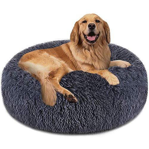 VZATT Donut Haustierbett, Rund Hundekissen, Runde Hundebett, Hundebett Donut Katzenbett Hundesofa Katzenkissen Haustierbett Flauschig Waschbar für Grosse Mittel Hunde und Katzen- Grau 50cm