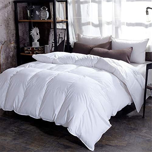 BAIYA Down Quilt, Down Velvet Chemical Fiber Quilt, 90% Down Filling, Warm and Anti-mite, Comfortable Sleep (White,180x220cm 4kg)