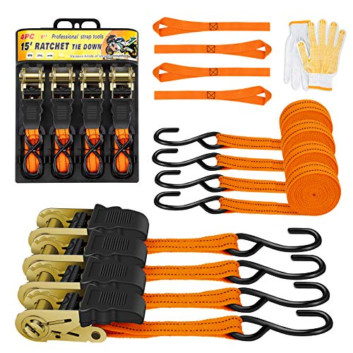 Ratchet Tie Downs Straps (4PK) - 15ft Cargo Straps, S-Hook Ratchet Straps, 500Lbs Load Capacity, 1,500Lbs Max Break Strength, Coated Metal Hooks, Soft Loop Straps and Glove Included