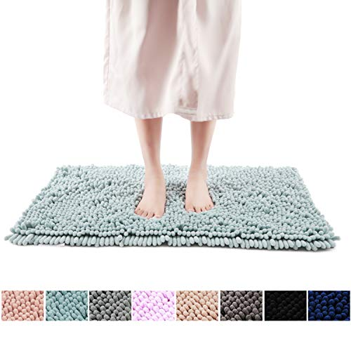 FRESHMINT Chenille Bath Rugs Extra Soft and Absorbent Microfiber Shag Rug, Non-Slip Runner Carpet for Tub Bathroom Shower Mat, Machine-Washable Durable Thick Area Rugs (20' x 32', Blue)