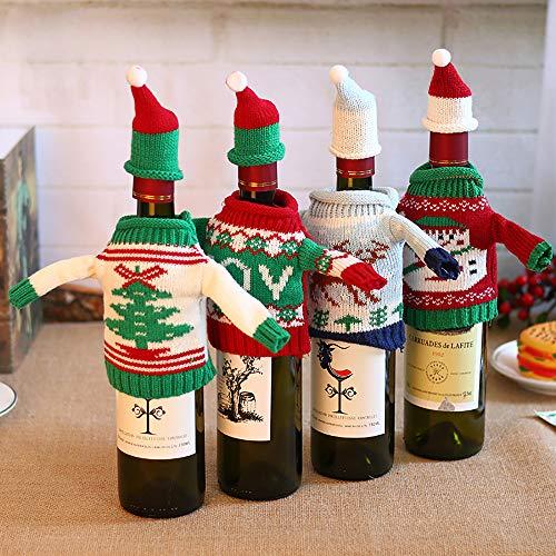 UKE Weihnachten Weinflasche Cover, 4Pcs Hässliche Strickjacke Weihnachten Weinflasche Abdeckung Gestrickter Wein Pullover Abdeckung Für Weihnachtsfest-Dekorationen