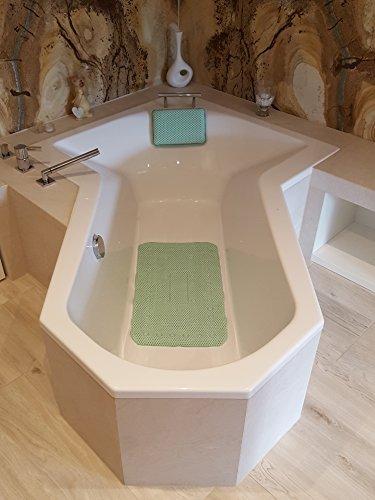 Leyna Badewannenkissen/Badewanneneinlage/Badeinlage/Wannenkissen/Einzeln oder im Set (Grün, Set Kissen und Einlage)