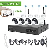 Kit de vigilancia de Video WiFi Cámaras Aottom 720P Sistema de vigilancia de Video WiFi, 8ch NVR + 4pcs Cámaras WiFi, Visión Nocturna, Detección de Movimiento, Email Alarmas, P2P, APP Remotely, no HDD