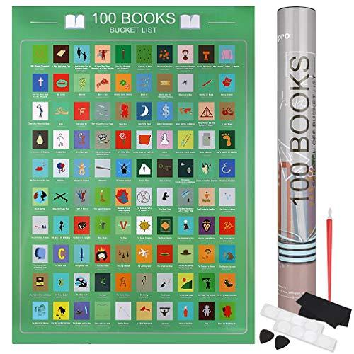 Anpro Poster 100 libri da grattare - 42x60cm film lista dei desideri di libri per gli appassionati di lettura, 6 pezzi di accessori