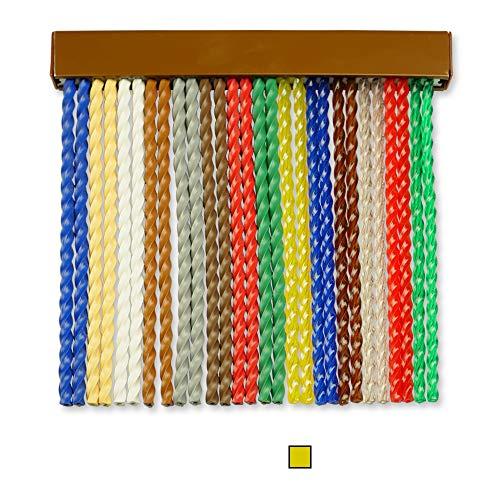 Cortinas Exterior Puerta de Cordon | Tiras Plastico PVC y Barra Aluminio | Ideal para Terraza y Porche | Antimoscas | Transparente-Amarillo | 210 * 90